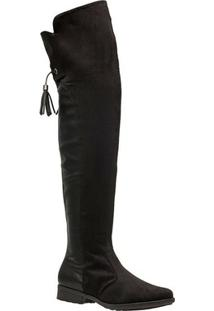 Bota Over The Knee Piccadilly Napa Camurça 650055 - Feminino-Preto