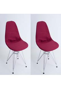 Kit Com 02 Capas Para Cadeira Charles Eames Eiffel Wood Vinho