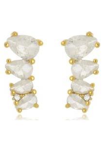 Brinco Ear Cuff Gotas Carola Cristal Fusion Di Capri Semi Jóias X Ouro Dourado