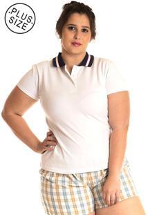 Camisa Polo Konciny Plus Size Branco