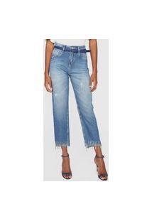 Calça Jeans Morena Rosa Mom Franjas Azul