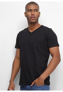 Camiseta Colcci Básica Gola V Masculina - Masculino-Preto