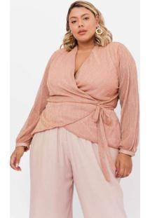 Blusa Almaria Plus Size Pianeta Cashcouer Nude