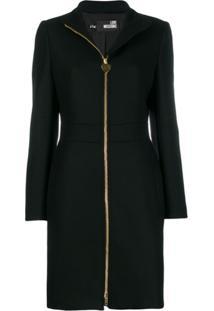 Love Moschino Zipped Wool Midi Coat - Preto