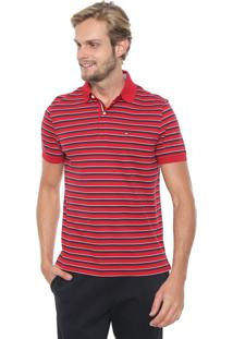 Camisa Polo Tommy Hilfiger Reta Murray Vermelha