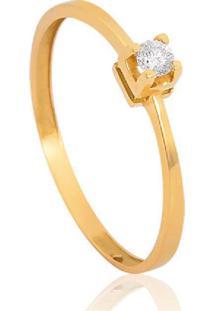 Anel Solitário De Ouro 18K Diamante 7 Pts To Love