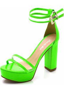 Sandália Salto Grosso Flor Da Pele Verde Neon - Tricae
