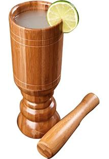 Kit Caipirinha Bambu 1 Copo E 1 Amassador 3396 Mor
