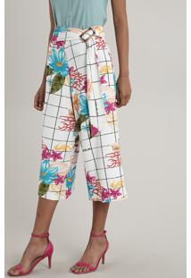 Calça Feminina Pantacourt Texturizada Estampada Quadriculada Floral Com Faixa Off White