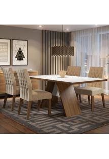 Conjunto Sala De Jantar Madesa Diana Mesa Tampo De Madeira Com 4 Cadeiras Marrom