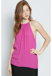 Blusa Com Franzidos & Vazado- Pink- Colccicolcci