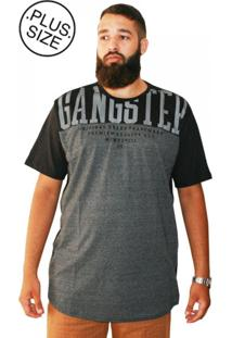 Camiseta Plus Size Gangster Long Line Preta