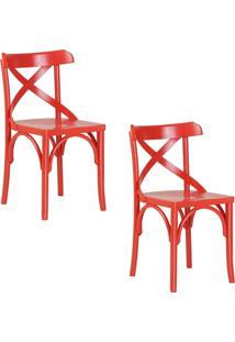 Kit 2 Cadeiras Decorativas Gran Belo Crift Vermelho