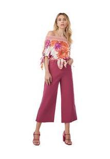 Calça Morena Rosa Pantalona Cropped Danila Cós Alto Com Lenço Rosa