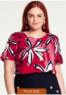 Blusa Plus Size Rayon Estampada Vermelho