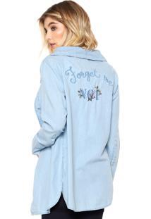 Camisa Jeans Lez A Lez Bordada Azul