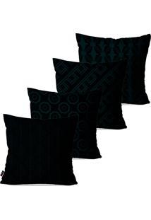 Kit Com 4 Capas Para Almofadas Decorativas Preto Geométrico 45X45Cm