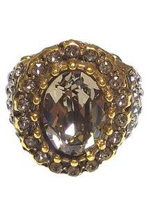 Anel Armazem Rr Bijoux Cristal Swarovski Redondo Dourado