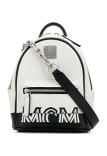 Mcm Bolsa Transversal Com Estampa De Logo - Branco