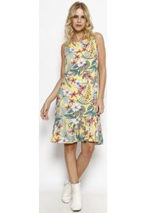 Vestido Floral Com Recorte - Amarelo & Azulmoiselle