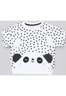 Blusão Infantil Panda Estampado De Poá Com Bolso Em Moletom Off White