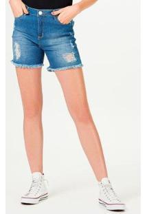 Bermuda Jeans Hering Barra Desfiada Feminina - Feminino