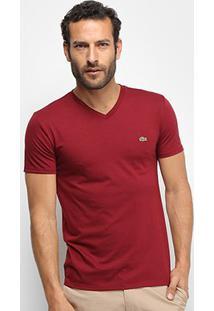 Camiseta Lacoste Gola V Regular Fit Masculina - Masculino-Vermelho+Branco