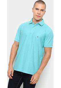 Camisa Polo Tommy Hilfiger Regular Logo Bordado Masculina - Masculino-Azul Claro