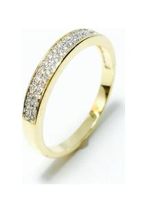 Anel Meia Alianca Banhada Em Ouro 18K, Cravejada Com Cristal - Feminino-Dourado
