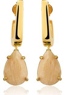 Brinco Toque De Joia Mini Anzol Amazonita Nude Ouro Amarelo