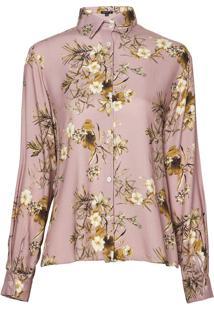 Camisa Dudalina Manga Longa Pregas Costas Estampa Floral Feminina (Estampado Floral, 40)