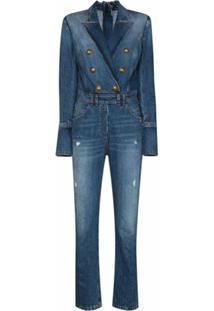 Balmain Macacão Jeans Com Abotoamento Duplo - Azul