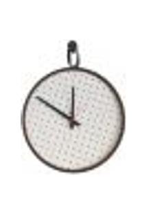 Relógio Short Strip Marrom Alça Preta Mostrador Branco Perfurado 40 Cm
