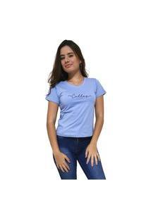 Camiseta Feminina Gola V Cellos Stretched Premium Azul Claro