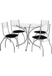 Conjunto De Mesa De Jantar Com 4 Cadeiras Chiphe E Marrocos Napa Branca
