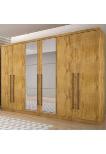 Guarda-Roupa Casal Bari 8 Gavetas C/ Espelho Fosco – Novo Horizonte - Freijo Dourado