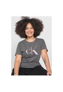 Camiseta Calvin Klein Jeans Logo Grafite
