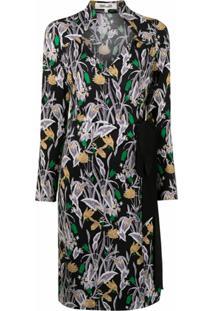 Dvf Diane Von Furstenberg Tiffany Bali Flower-Print Silk Dress - Preto