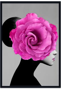 Quadro 60X90Cm Mary Mulher Com Flor Rosa Nórdico Moldura Preta Com Vidro