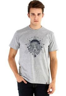 Camiseta Ouroboros Manga Curta Leão Mystico - Masculino-Cinza