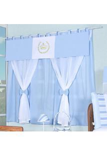 Cortina Dupla Padroeira Baby Luiz Xv Azul