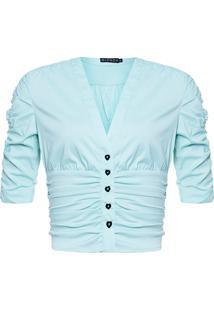 Blusa Feminina Cropped Franzido - Azul