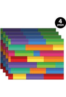 Jogo Americano Mdecore Abstrato 40X28Cm Amarelo 4Pçs