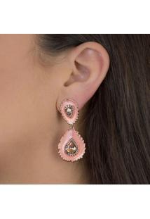 Brinco Luxo Gota Esmaltado Coral Com Zircônias Citrino Banhado Em Ouro Rosé