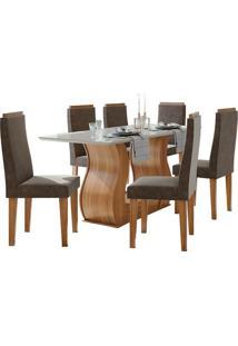 Sala De Jantar Dafne 160Cm Com 6 Cadeiras Rovere Naturale Velvet Chocolate