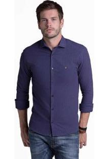 Camisa Buckman Casual Fio Tinto Listras Masculina - Masculino-Marinho