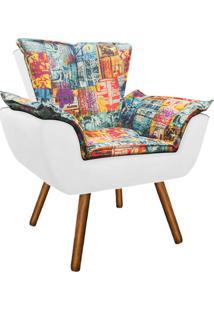 Poltrona Decorativa Opala Suede Composê Estampado Street D05 E Branco - D'Rossi