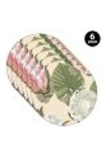 Sousplat Mdecore Floral 35X35Cm Bege 6Pçs