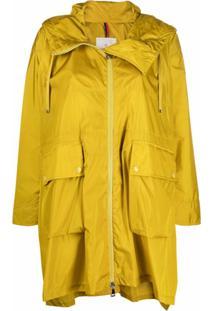 Moncler Casaco Impermeável Com Barra Assimétrica - Amarelo