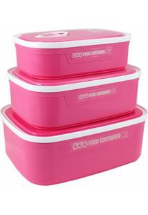 Kit 3 Pote Hermético Quadrado Marmita Microondas E Freezer Rosa